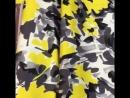 Итальянский хлопковый сатин с серо желтыми цветами ⭐️Примечание По всему полотну идет надпись Aktive by krizia ⭐️ширина 14