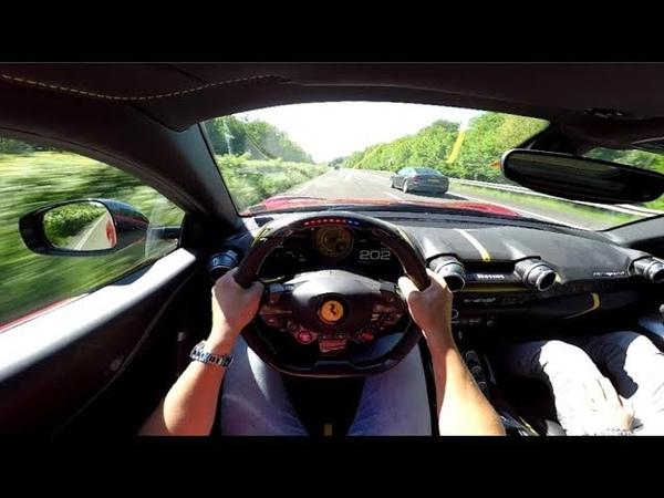 Ferrari 812 Superfast 320 kmh on Autobahn! - ORGASMIC SOUND!