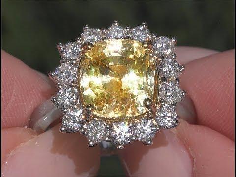 GIA 8.59 tcw VVS Clarity Top Gem Unheated Yellow Sapphire Diamond Cocktail Ring 18k Gold C480