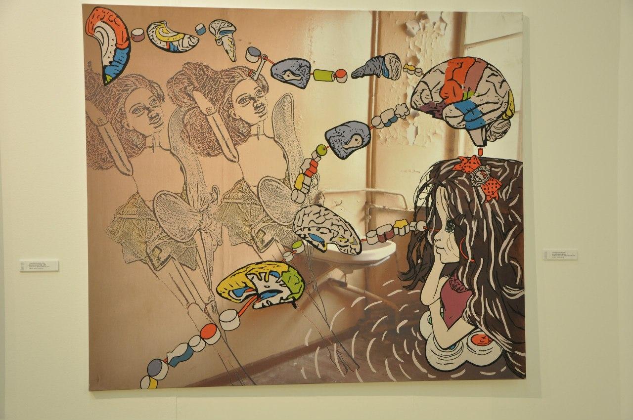 Союз художников Литвы  Иоланта Кизикайте (р. 1980)  Комната игр. Когда Братз мечтала стать Барби. 2012  Печать на холсте, маркер