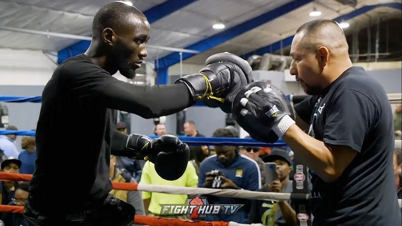 TERENCE CRAWFORD HITTING THE MITTS IMMEDIATELY AFTER JOSE BENAVIDEZ CONFRONTATION