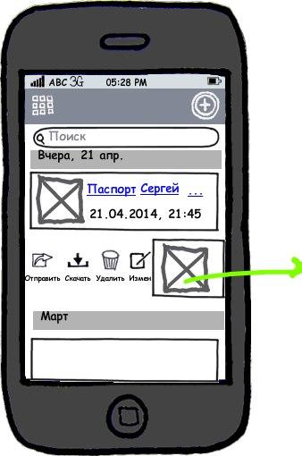 Мокап интерфейса главного экрана