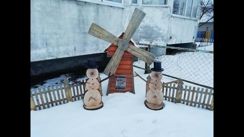 Снеговик из спиловSnowman from wooden cuts
