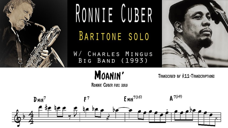 Ronnie Cuber - Moanin' full Baritone solo transcription (with the Charles Mingus Big Band)