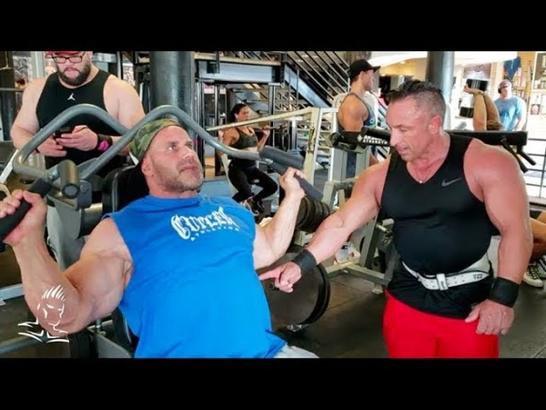 Jay Cutler Derik Farnsworth train delts at THE GYM in San Diego