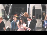 Chris Colfer, Lea Michele, and Darren Criss arriving to Glee Set