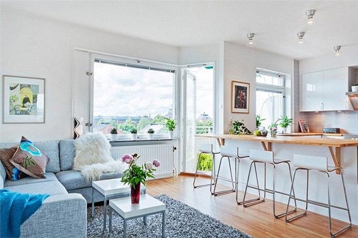 Интерьер студии 35 м в Копенгагене / Дания.