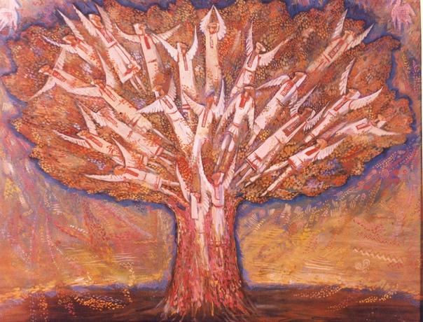 наши предки считали, что дерево (древо) есть живой образ о триединой природе мира. правь - крона, явь - ствол, навь - корневая система. стоит представить себе мироустройство в таком образе, и