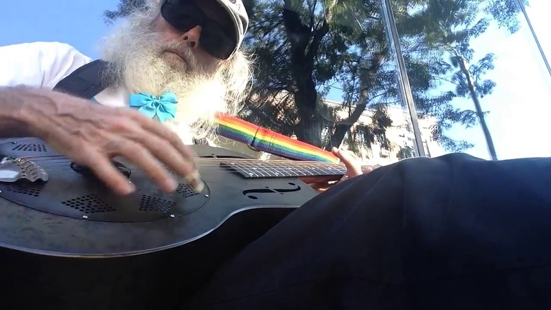 Messiahsez Rips Rhythms From His Guitar In Open D On The Street While His Wife Leaflets!