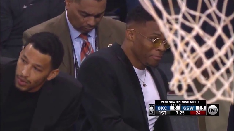 Russell Westbrook caught trying to sneak eating a mystery snack on the sideline 10 16 18