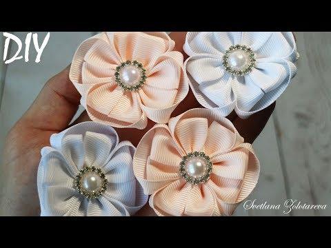 Нежные цветы из ленты 🌸 Flowers from ribbon 🌸 DIY 🌸 Svetlana Zolotareva