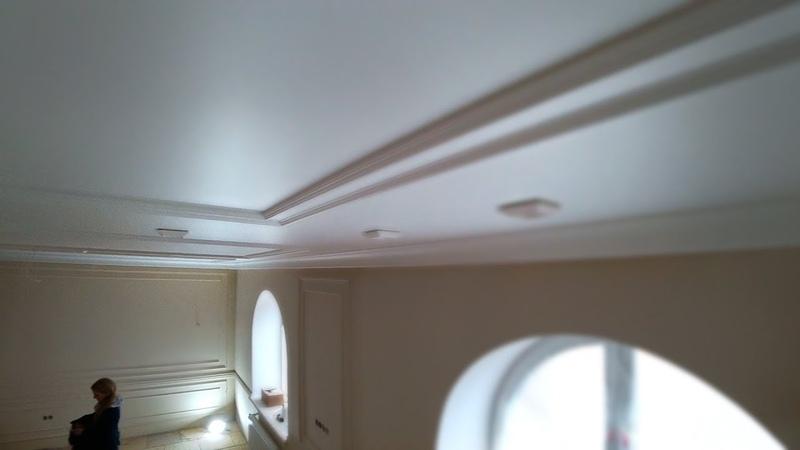 Окраска потолка аппаратом безвоздушного нанесения | Аспро 2300 | краска Тиккурила Гармония
