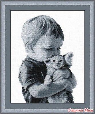 Ищу схему Мальчик с котенком