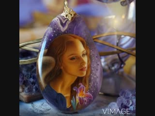 Кулон-оберег с ювелирной живописью Ангел Аметиста