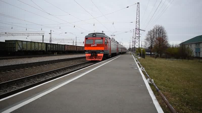 Электропоезд ЭД9Т-0019. Отправление от Укладочного.