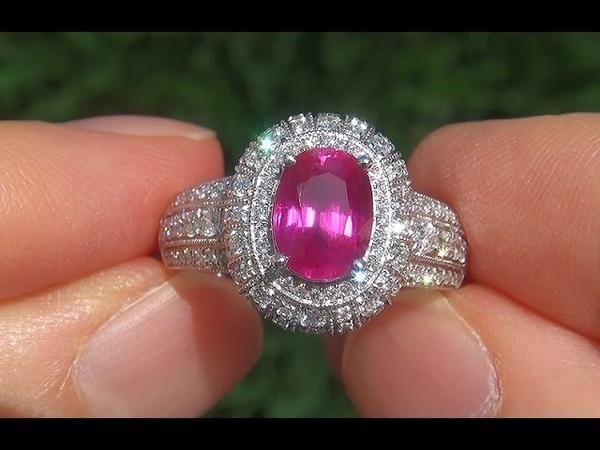 GIA Estate VVS UNHEATED Natural Ruby Diamond PLATINUM Vintage Cocktail Ring - A131468