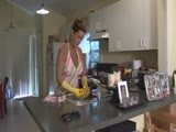 Housewife mouth stuffed and cleave gagged