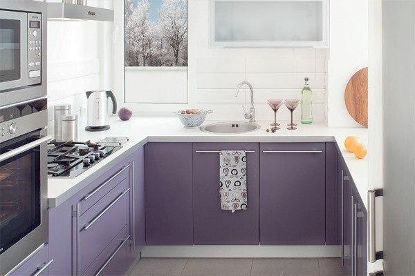 Сиреневая кухня (60 фото ) в интерьере с бежевым, белым