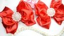 Красные нарядные бантики из атласной ленты 5 см satin ribbon bows