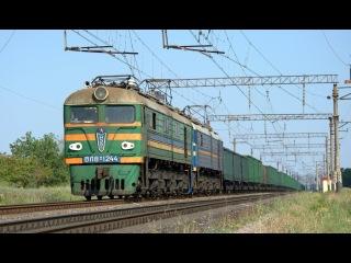 Electric locomotive VL8M-1244 with freight train near Simferopol