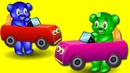 Gummy Bear Little Baby racing toy car Finger Family💙 ❤️💚 Childrens cartoons Nursery Rhymes