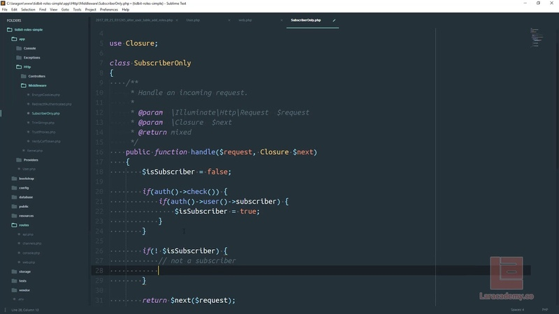 Laravel 5.5 - Tidbits - Simplistic Role System