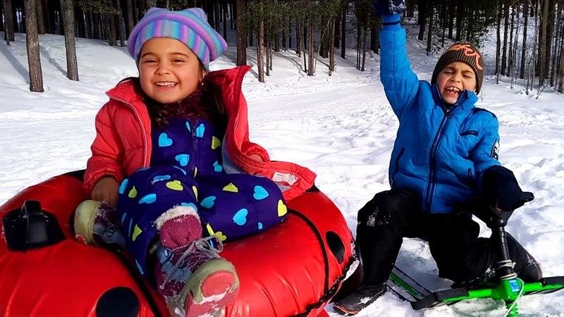 Fındık ailesi Mikail'in ve Meryem'in kar eğlencesi