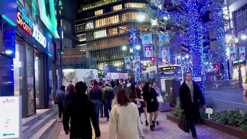 TOKYO【Christmas Lights】SHIBUYA 2018. [Ao-no-Dokutsu] . 4k 青の洞窟