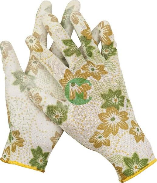 Перчатки садовые, прозрачное PU покрытие, 13 класс вязки, зеленые, размер L   GRINDA