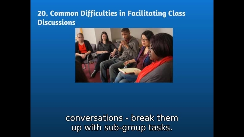 20 Common Difficulties in Facilitating Class Discussions