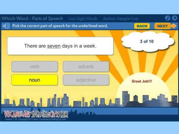 Parts of Speech VocabularySpellingCity Games