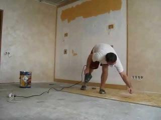 Укладываем  OSB-плиту на бетонный пол