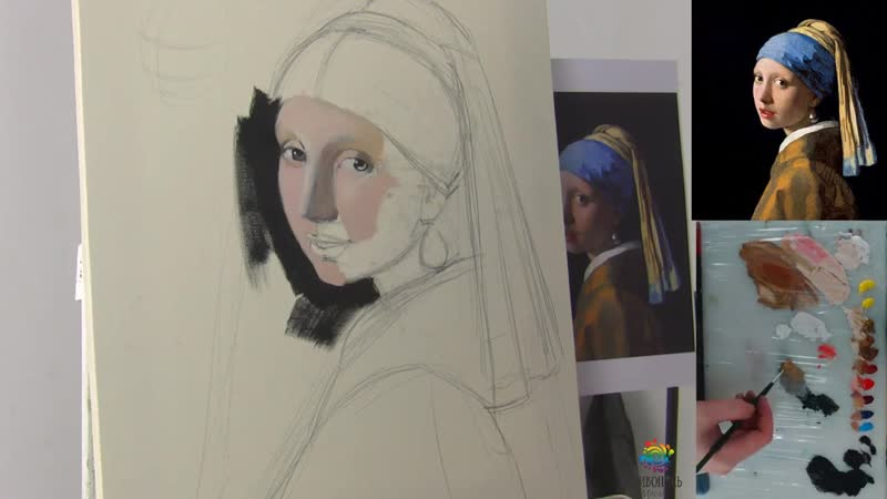 Пишем маслом картину Яна Вермеера Девушка с жемчужной сережкой с Кристиной Горбу
