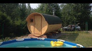 баня-бочка 5 метров с козырьком под ключ обзорное видео от производителя готовых бань в Санкт-Петерб