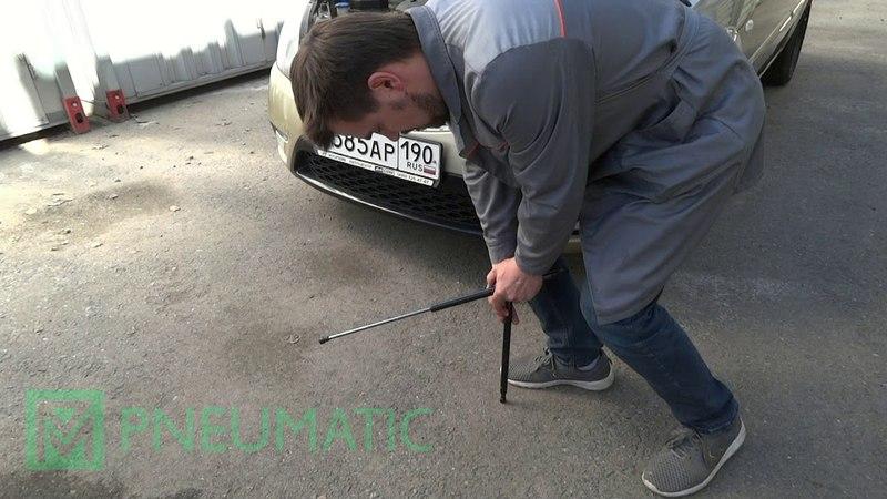 Установка амортизаторов (упоров) капота для Kia Rio (Арт. KU-KI-RI02-00) от upory.ru
