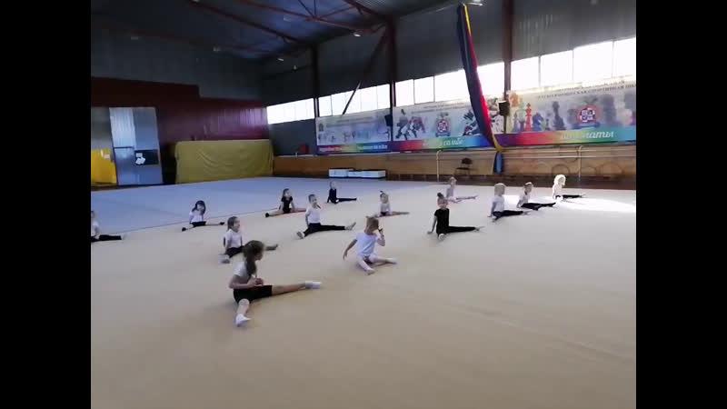 Художественная гимнастика, наши малышки репетируют показательное выступление