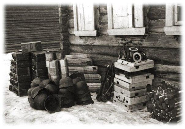 Немецкие трофеи, оставшиеся после освобождения деревни борис.