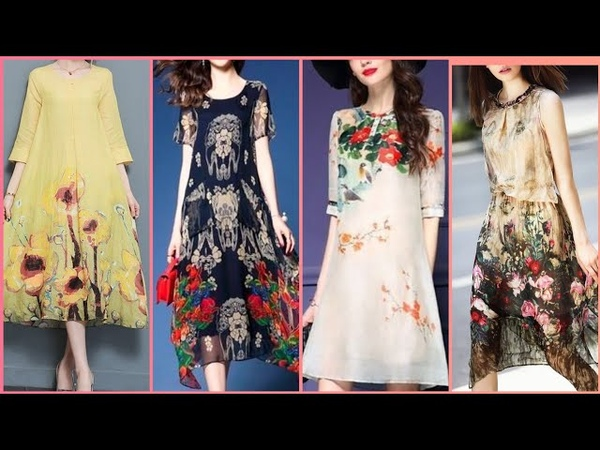 Beautiful floral chiffon and silk short dresses for girls