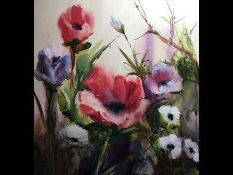 EASY watercolor - FLOWERS - wet on wet technique