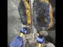 Серьги из тонированных срезов кварца сложного синего оттенка