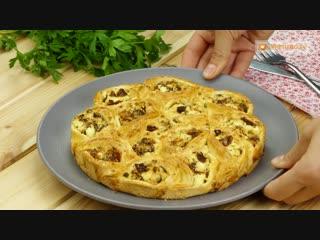 Стоит попробовать! Необычайно вкусный пирог с творогом и сушеными помидорами