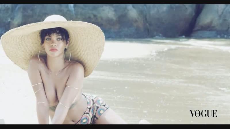 Голая Рианна (Rihanna) на фотосессии для журнала Vogue Бразилия (2014) HD 720p