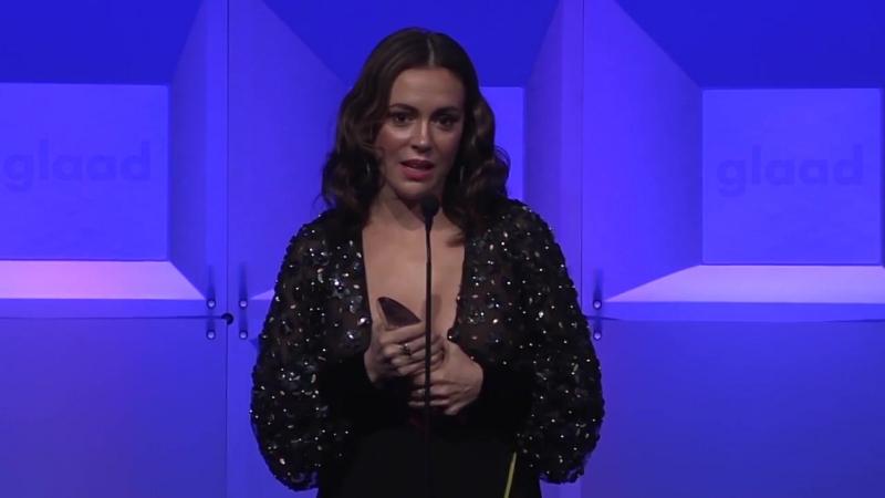 Alyssa Milano accepts inaugural Ariadne Getty Ally Award at the 2018 GLAAD Gala San Francisco