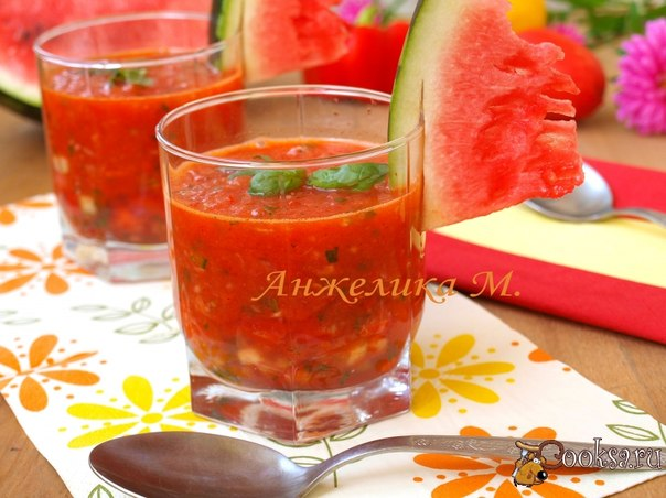 Gazpacho with a water-melon of Prelagayu to you an unusual gazpacho with addition of a water-melon. The gazpacho can consider as the best-known dish in Spain. This refreshing summer vegetables soup which are not exposed to heat treatment very quickly prepares also its recipes so much how many hostesses as everyone cooks it in own way.