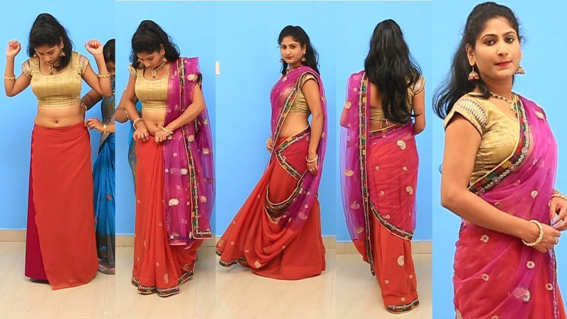 Bengali Style Half And Half Saree Lehanga Model | Different Saree Draping Collection For Party look
