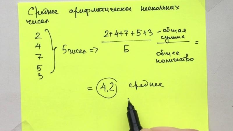 Среднее арифметическое нескольких чисел