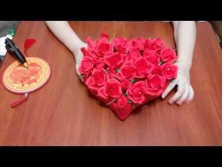 Букет из конфет «Сердце из роз»  (видео мастер-класс) [uroki-online.com]