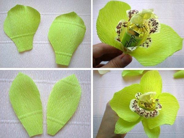 Орхидея из гофрированной бумаги своими руками с конфетами