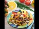 Салат с запеченным баклажаном и адыгейским сыром