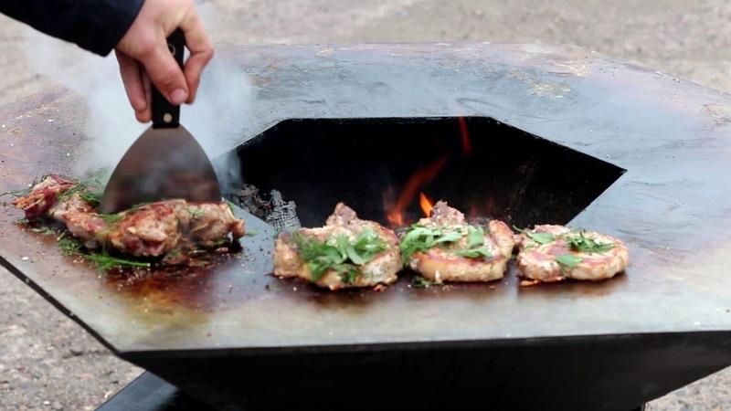 Уличный очаг жаровня гриль барбекю мангал под казан и шашлык Гнусавый перевод